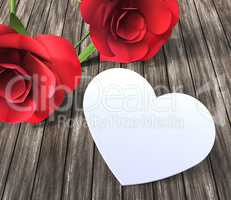 Roses Heart Indicates Valentines Day And Bloom