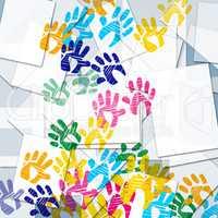 Color Handprints Represents Artwork Watercolor And Colorful