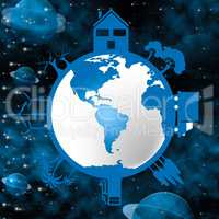 Planets Global Means Earth Friendly And Cosmos