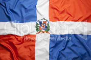Textile flag of Dominican Republic