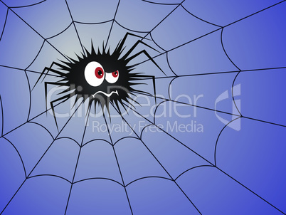 Halloween Angry spider on the blue cobweb