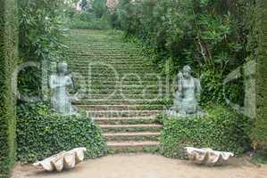 Stone stairway with bush in garden