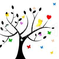 Birds Tree Indicates Heart Shape And Environment