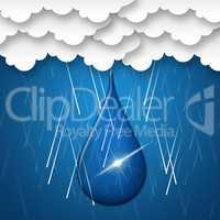 Rain Drop Indicates Clothes Line And Clothespin