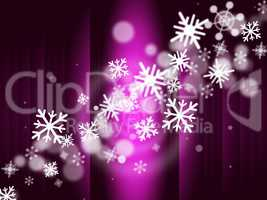 Snowflake Stage Represents Ice Crystal And Celebrate