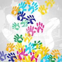 Handprints Color Indicates Drawing Artwork And Colors