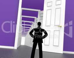Silhouette Doors Represents Men Human And Outline