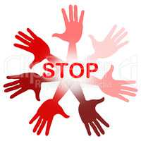 Hands Warning Represents Red Disapproval And Refusal