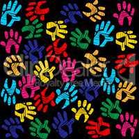 Handprints Colourful Means Background Vibrant And Watercolor