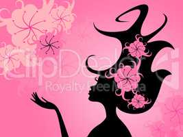 Hairdo Floral Represents Young Woman And Girl