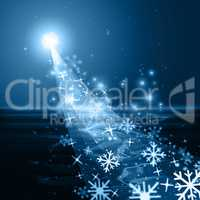 Glow Snowflake Shows Ice Crystal And Blazing
