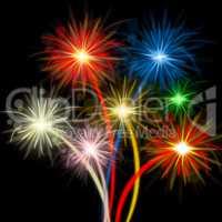 Color Fireworks Indicates Explosion Background And Celebration