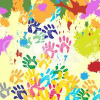 Splash Handprints Indicates Colorful Blobs And Human