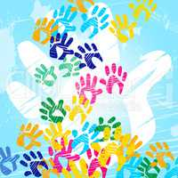 Color Handprints Means Child Human And Watercolor