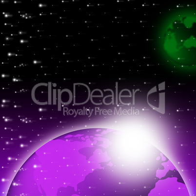 Purple Earth Background Shows Brightness Planet And Heavens.