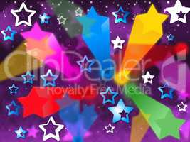 Colorful Stars Background Means Heavens Rays And Shining.