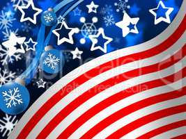 American Flag Background Means Snowing Winter And States.