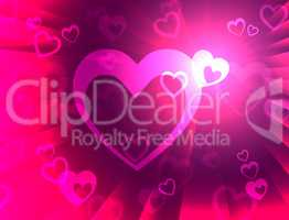 Hearts Background Shows Wedding  Marriage And Anniversary.
