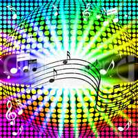 Music Disco Ball Background Shows Songs Dancing And Beams.