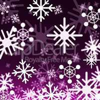 Purple Snowflakes Background Shows Snowing Winter And Seasons.