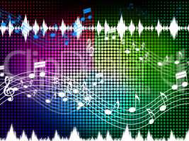 Music Color Background Shows Sounds Harmony And Singing.