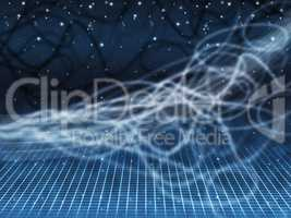 Blue Squiggles Background Shows Starry Sky And Grid.