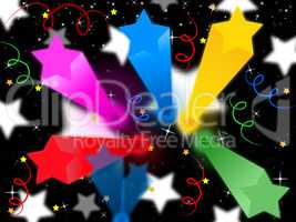 Stars Streamers Background Means Celestial Colors And Party.