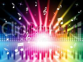 Music Colors Background Shows Instruments Songs And Frequencies.