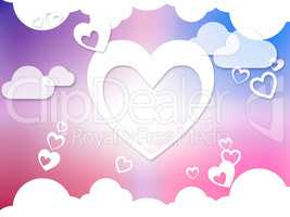 Hearts And Clouds Background Means Romantic Dreams And Feelings.