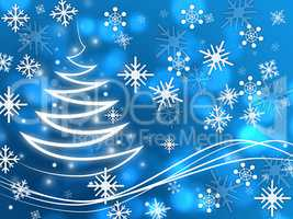 Snowflakes Background Shows Zigzag Winter And Freezing.