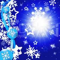 Blue Snowflakes Background Shows Bright Sun And Snowing.