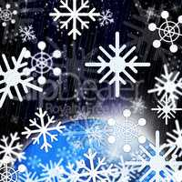 Snowflakes Background Shows Snowing From Sky And Cold.