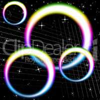 Rainbow Circles Background Means Colorful Circular And Heavens.