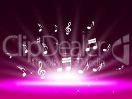 Purple Music Backgrond Shows Singing Melody And Pop.