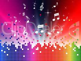 Colorful Music Background Shows Sounds Jazz And Harmony.