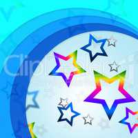 Star Curves Background Shows Curvy Lines And Rainbow Stars.