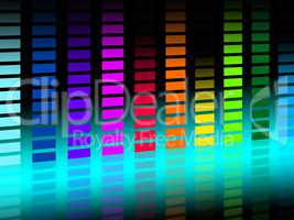 Colorful Soundwaves Background Shows Musical Songs And DJ.