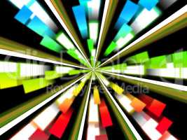Wheel Background Shows Multicolored Rectangles And Spinning.