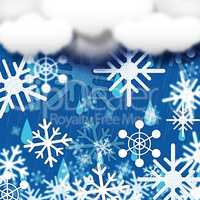 Blue Snowflakes Background Shows Snow Cloud And Snowing.