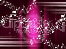 Purple Music Background Means Melody And Tune.