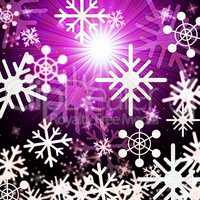 Snowflake Background Means Snowing Sun And Winter.