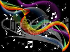 Music Background Means Melody Instrument And Colorful Waves.