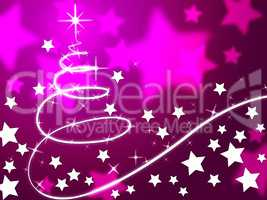 Purple Christmas Tree Background Means Holiday Season And Stars.