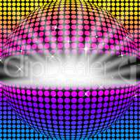 Disco Ball Background Means Light Colors And Party.