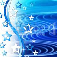 Blue Rippling Background Means Curves Round And Stars.