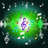 Green Music Background Shows Shining Discs And Classical.