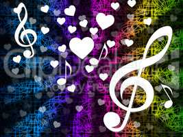 Music Background Means Tune Melody And Harmony.
