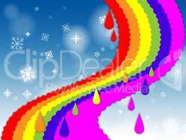 Rainbow Background Shows Blue Sky And Snowing.