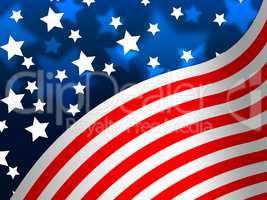 American Flag Banner Means States America And Stars.