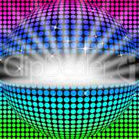 Disco Ball Background Shows Glowing Colorful And Clubbing.